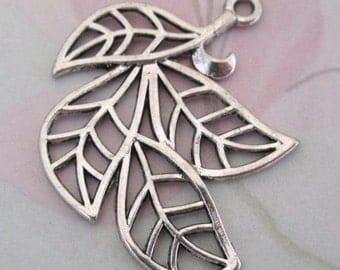 4 pcs. silver tone casted leaf charm 32x29mm - f4485
