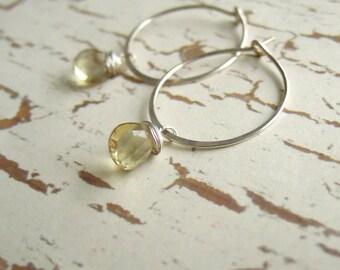 Yellow Beer Quartz Gemstone Earrings, Sterling Silver Hoops