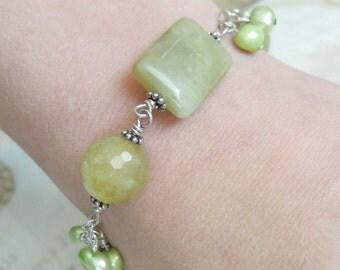 Green Bracelet, Green Gemstone, Sterling Silver, Serpentine Jade, Aquamarine, Pearl