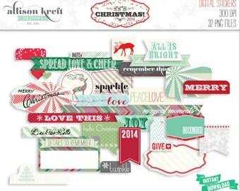 It's Christmas Printable Digital Stickers