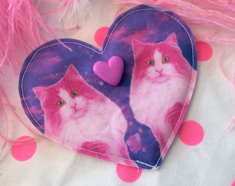 Neon Hot Pink Kitties Fabric Heart Badge