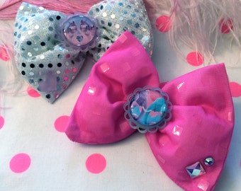 Animal Pals Pink and Silver Hair Bows