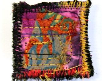 Brooch Textile Fiber Art Handmade Hand dyed Fabrics Silk B6