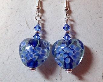 Beautiful Blue Floral Glass Bead Heart Earrings silver