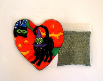 Halloween Catnip Heart Toy with Catnip Refillable Cats Jack O '  Lanterns Halloween