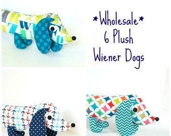 Wholesale Pricing for 6 Plush Wiener Dogs Stuffed Animal Plush Dachshund Kids and Babies