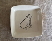 Square dish with seated dog
