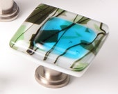 Skyblue with Green Fractures and Streamers Stacked Ivory Fused Glass Cabinet Pull