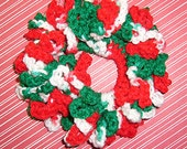 Crochet Ruffle Hair Scrunchie, Holiday Hair Tie, Ponytail Holder , Classic Holiday Charm