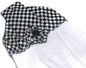 Hanging Kitchen Dish Towel Black and White Checkered