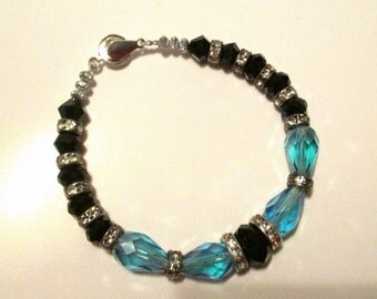 Blue and Black Crystal Bracelet  BR5