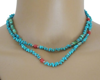 Turquoise Coral Knotted Cord Necklace Sterling Silver Bead Long  DJStrang Boho Cottage Chic