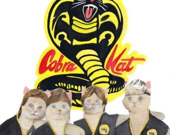 "Cobra Kat 8.5 x 11"" print by Ray Young Chu (Karate Kat)"