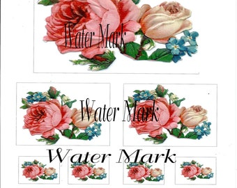 Decals created from a vintage Victorian rose die cut