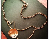 Flying Into Spring / Copper Bird and Flower Necklace