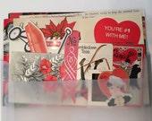 Red, Black & White Vintage Ephemera Pack for Collage or Junk Journals