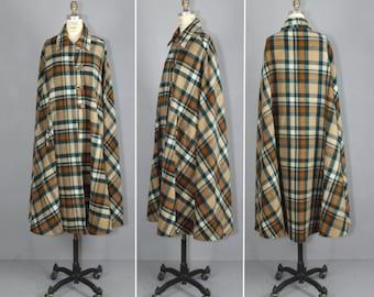 vintage cape / 1950s coat / plaid / wool / BENNINGTON long cape