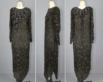 1970s dress / beaded / maxi / india dress / BOOGIE NIGHTS glam sequin dress