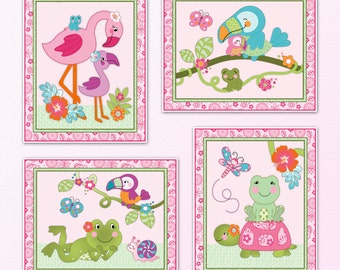 Set of Four tropical garden baby girl Nursery Art Prints. 3 sizes available