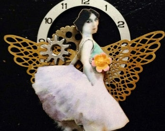 Ballerina Dancer Ballet brooch or pendant necklace  ooak  assemblage miniature art doll jewelry tateam