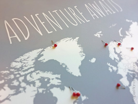 World Map With Pins First Anniversary Gift for by PaperPlanePrints – World Map Gifts For Travelers