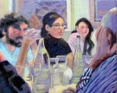 Original painting 8x8in group portrait acrylic on canvas, people, family, friends restaurant, celebration, party,