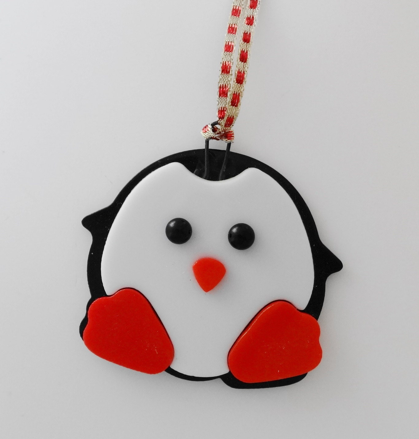 Fused glass penguin ornament christmas