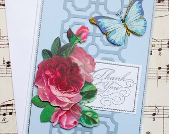 Thank You Card, Three Dimensional Roses and Butterfly Thank You Greeting Card, 3D Card, Butterfly Card, Floral Card
