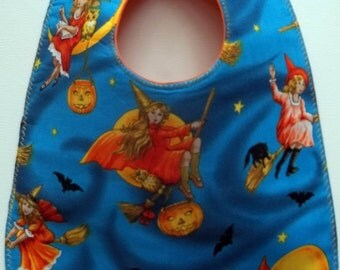 Halloween Baby Bib Pumpkins, Witches and Bats and Cats #1