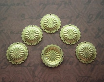 Concho Drop Charm 4 Holes SMALL Brass on Etsy x 6