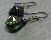 Emerald Green Earrings Concave Cut Quartz Earrings Mixed Metal Earrings Oxidized Sterling Silver Earrings
