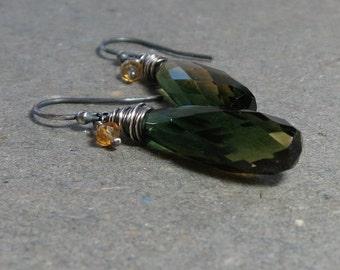 Green Gemstone Earrings Quartz, Citrine Earrings Long Dangle Earrings Oxidized Sterling Silver Earrings