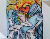 One-of-a-Kind Intuitive Scrying Drawing with Reading HAND-COLORED Original Art Signed 4 x 6 mini