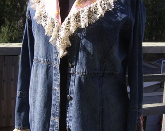 Victorian Style Upcycled Denim Coat