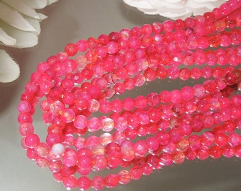 """Strawberry Pink Dyed Agate Facet Round Spheres 4mm- 7.5"""" Strand-Bastet's Beads-"""