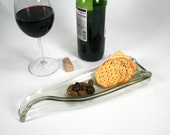 Sleek Clear Wine Bottle Molded Serving Tray or Spoon Rest - Recycled Eco-Friendly