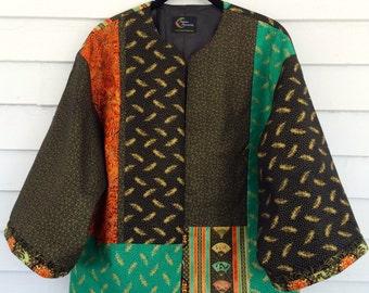 Kimono Style Jacket in Bright Green, Persimmon, and Black