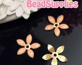 FG-EX-08001PH- Nickel Free, Lead Free, Color epoxy, 5-leaf beads cap, peach,6 pcs