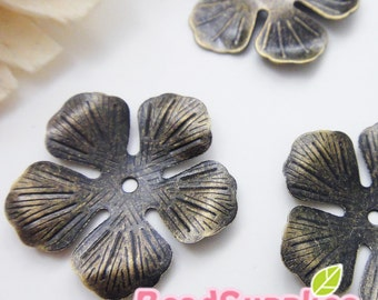 FG-FG-03091- Nickel Free, Raw Brass, 5-petal lily filigree, 12 pcs