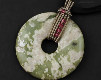 Peace Jade Donut, Pink Swarovski Crystal and Sterling Silver Pendant Necklace - CLEARANCE