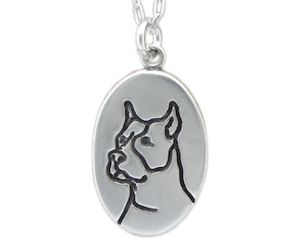 Sterling Silver Pit Bull Necklace - Reversible Rescue Dog Pendant - One Less Rescue