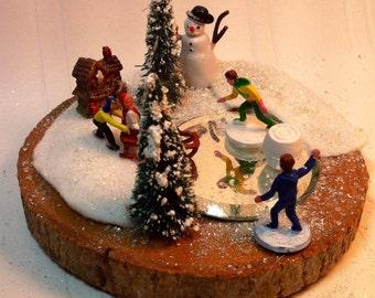 Christmas winter skating scene for villiage display
