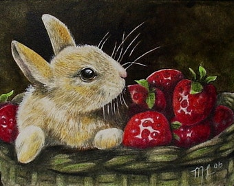 Bunny Rabbit and Strawberries Art by Melody Lea Lamb ACEO Print #127