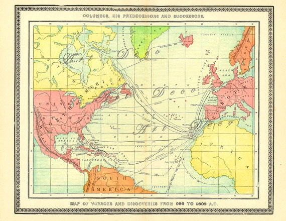 Antique Map Of Early Exploration Routes Years 986 To By ArtDeco