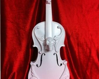 Gloss white Ornate skull violin sculpture Shabby Chic Baroque Gothic Victorian Tattoo