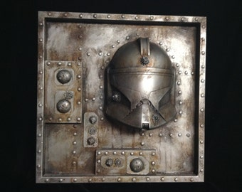 Industrial Steampunk Clonetrooper Rusted metal Wall Sculpture Star Wars