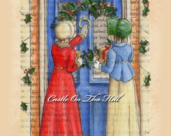 Jane Austen Christmas Holiday Cards 10  - Envelopes included