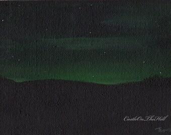 The Night Dances #3 Nocturnal landscape  Acrylic painting  4 x 4