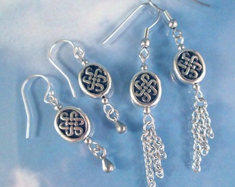 Celtic Knot Silver Charms Earrings add chains, Steel or Sterling Ear wires Life Path Mystic Magical Knots Infinite Dangle Drop Earrings