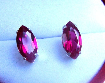 Earrings Red Ruby Marquise post studs - eco friendly sterling silver from recycled sources-USA- 10x5mm  Vivid, assertive & Ready to mail